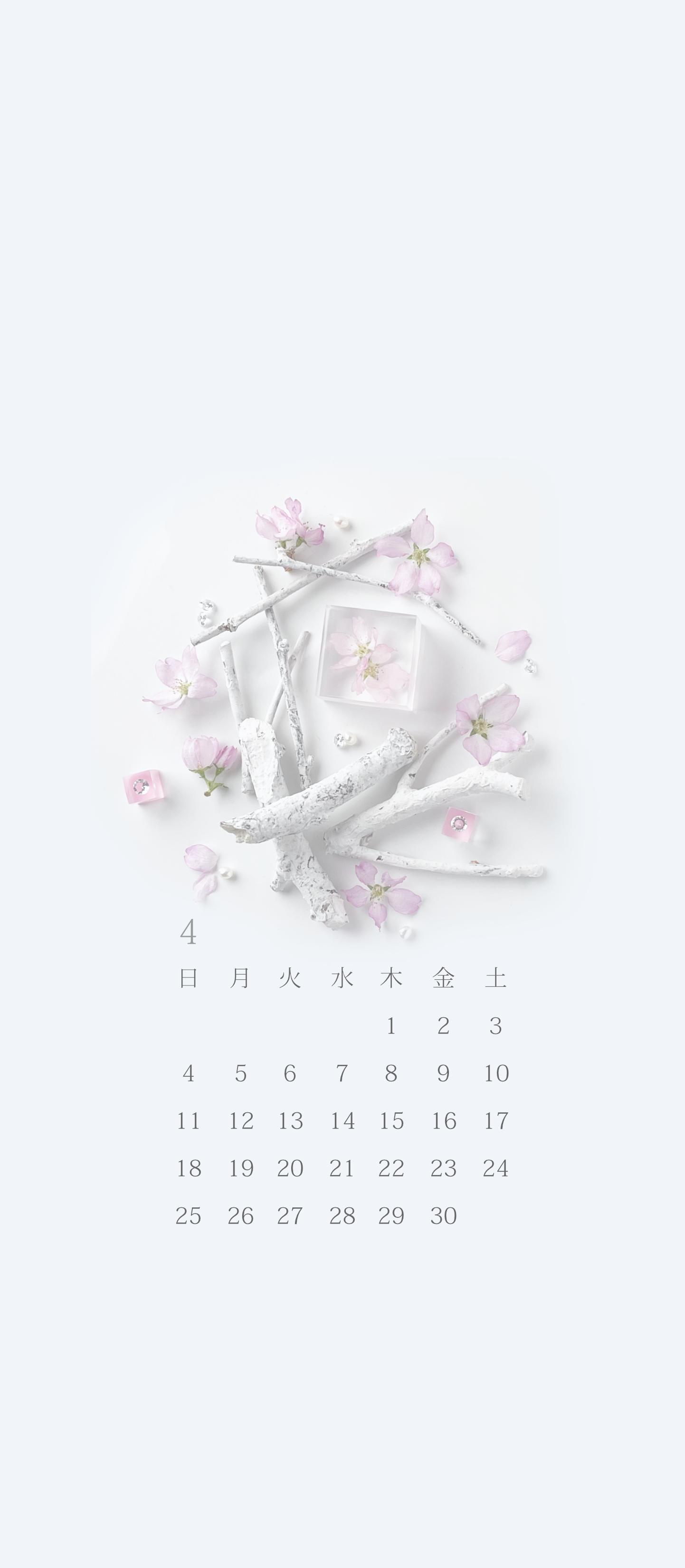 無料ロック画面カレンダー 「4月 桜」