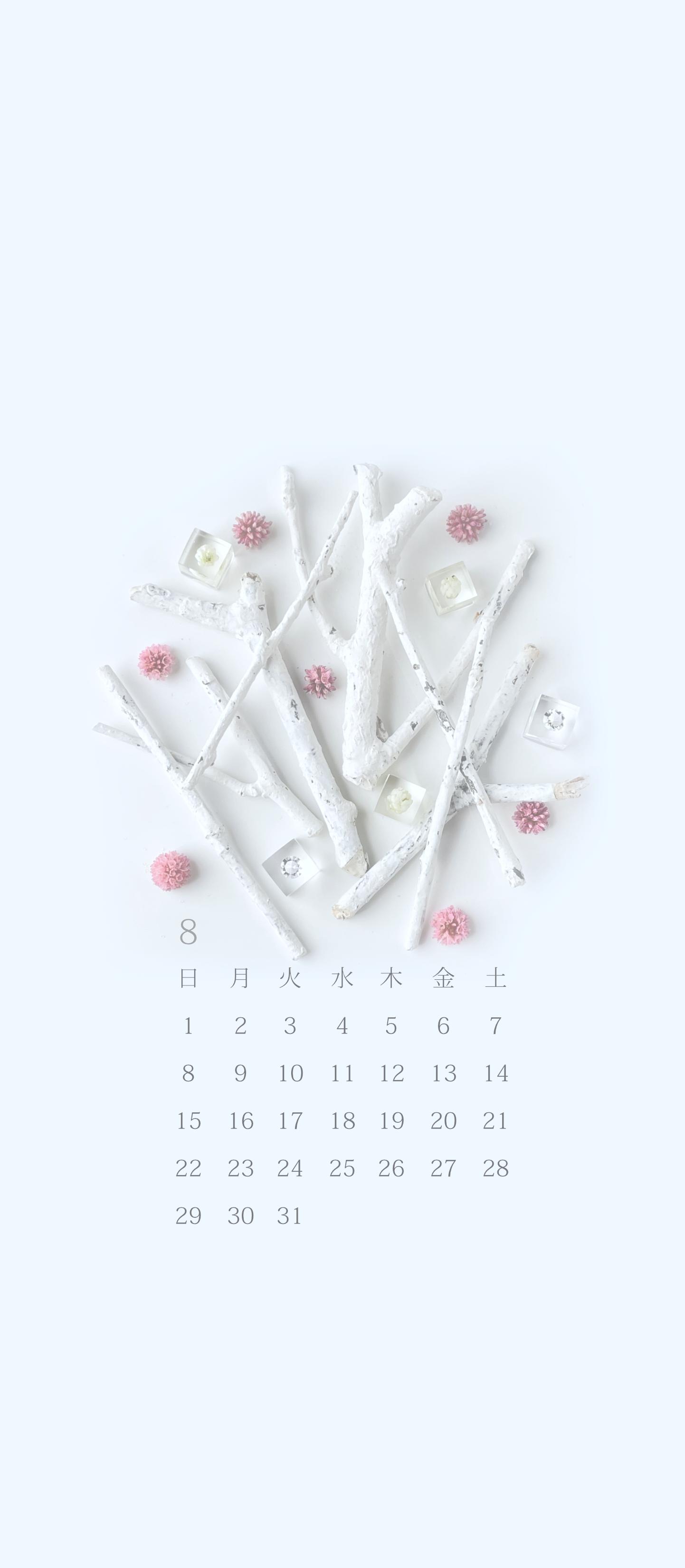 無料ロック画面カレンダー 「8月 ヒメツルソバ」