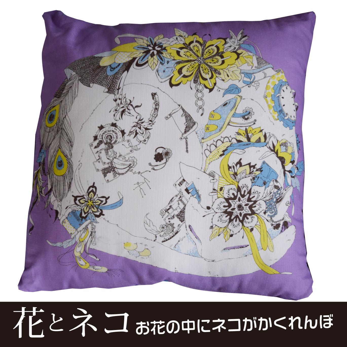 花とネコ クッション画*umidoodle*