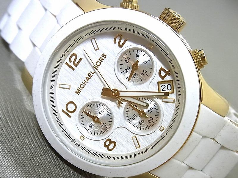 マイケルコース★腕時計★白・ラバー巻きベルト