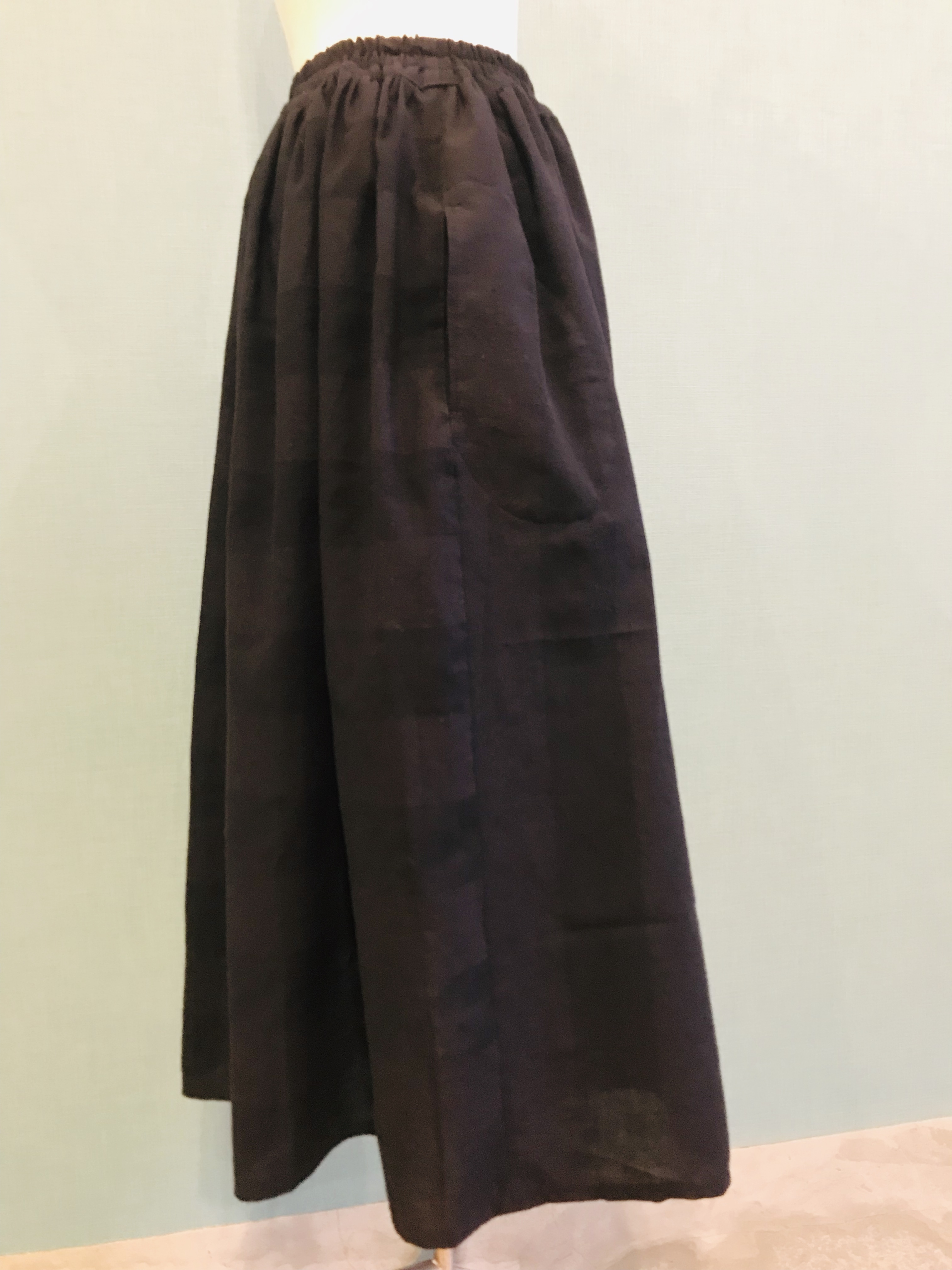 ウネ織 ストライプ×ボーダー ギャザースカート