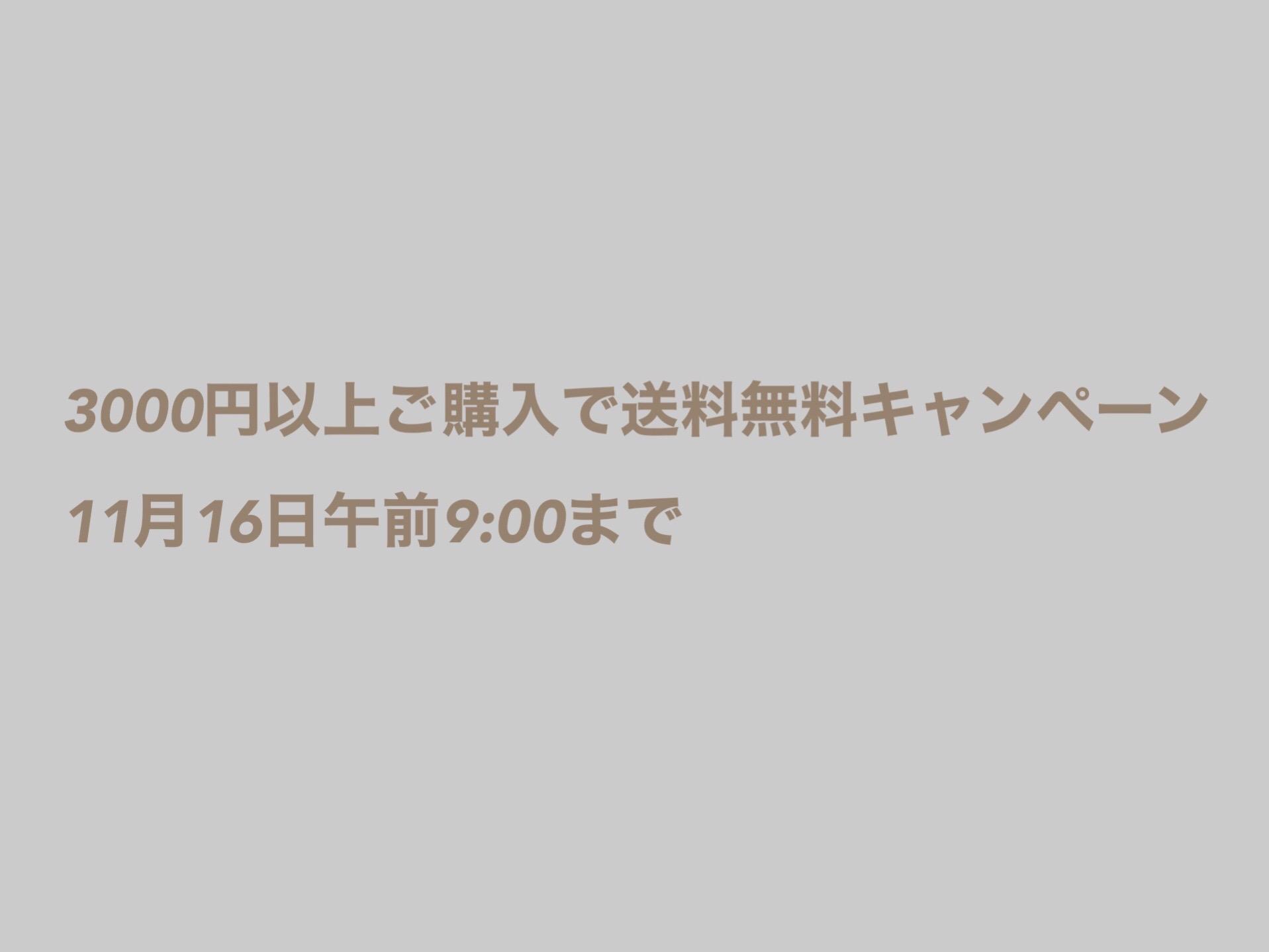 【お知らせ】「¥3,000以上ご購入で配送料無料」キャンペーン終了(11月16日午前9時まで)