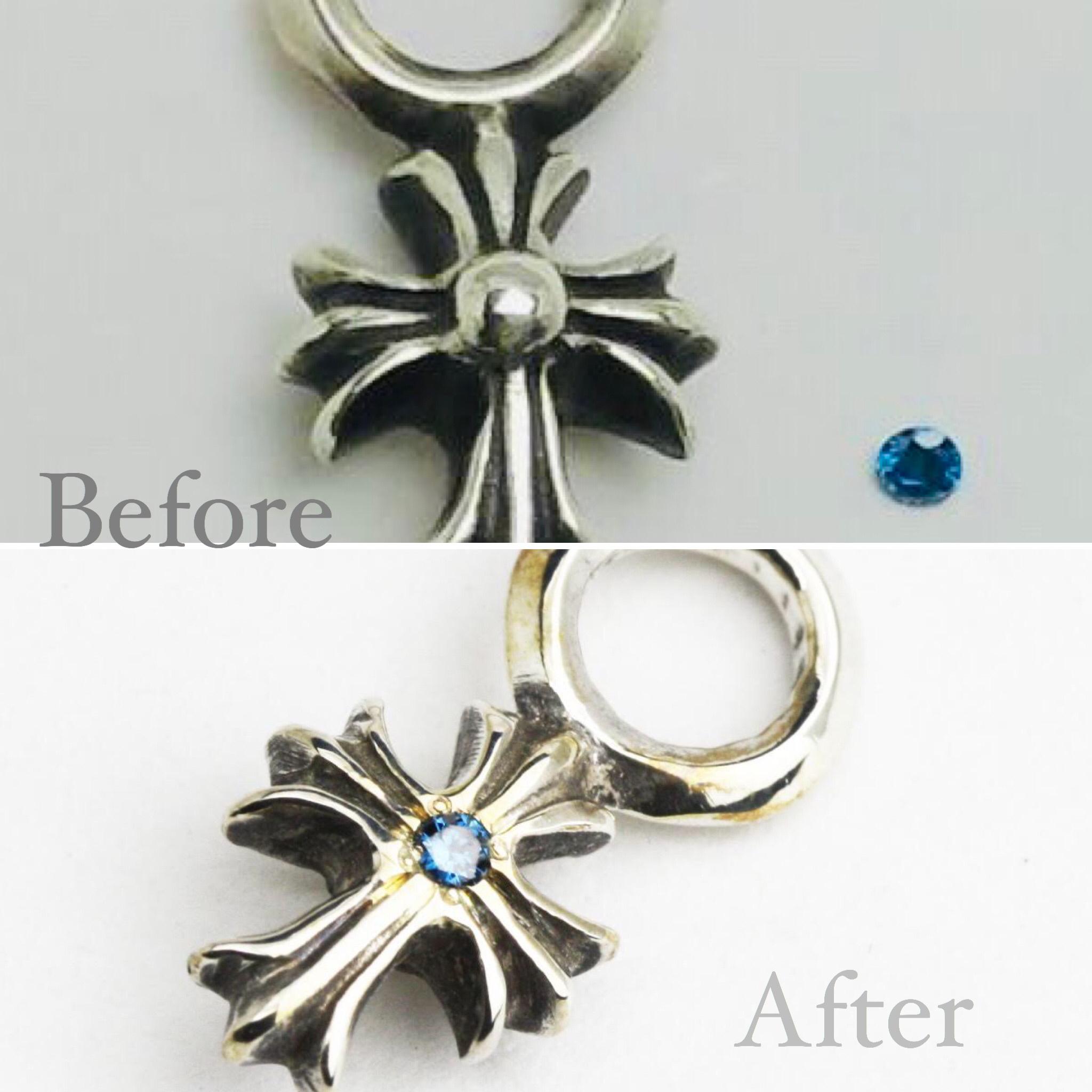 クロスペンダトにダイヤモンド彫留め加工の修理