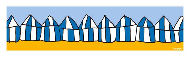 ラ・コンチャ海岸を彩るビーチバーLa Carpaの青と白のパラソル