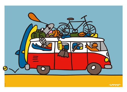 ワーゲンバスに色々載せていざ出発!リビングに飾れば一日が楽しい気分に
