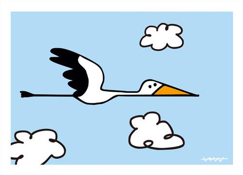 空飛ぶコウノトリが可愛くて、出産祝いや子供部屋にピッタリ!