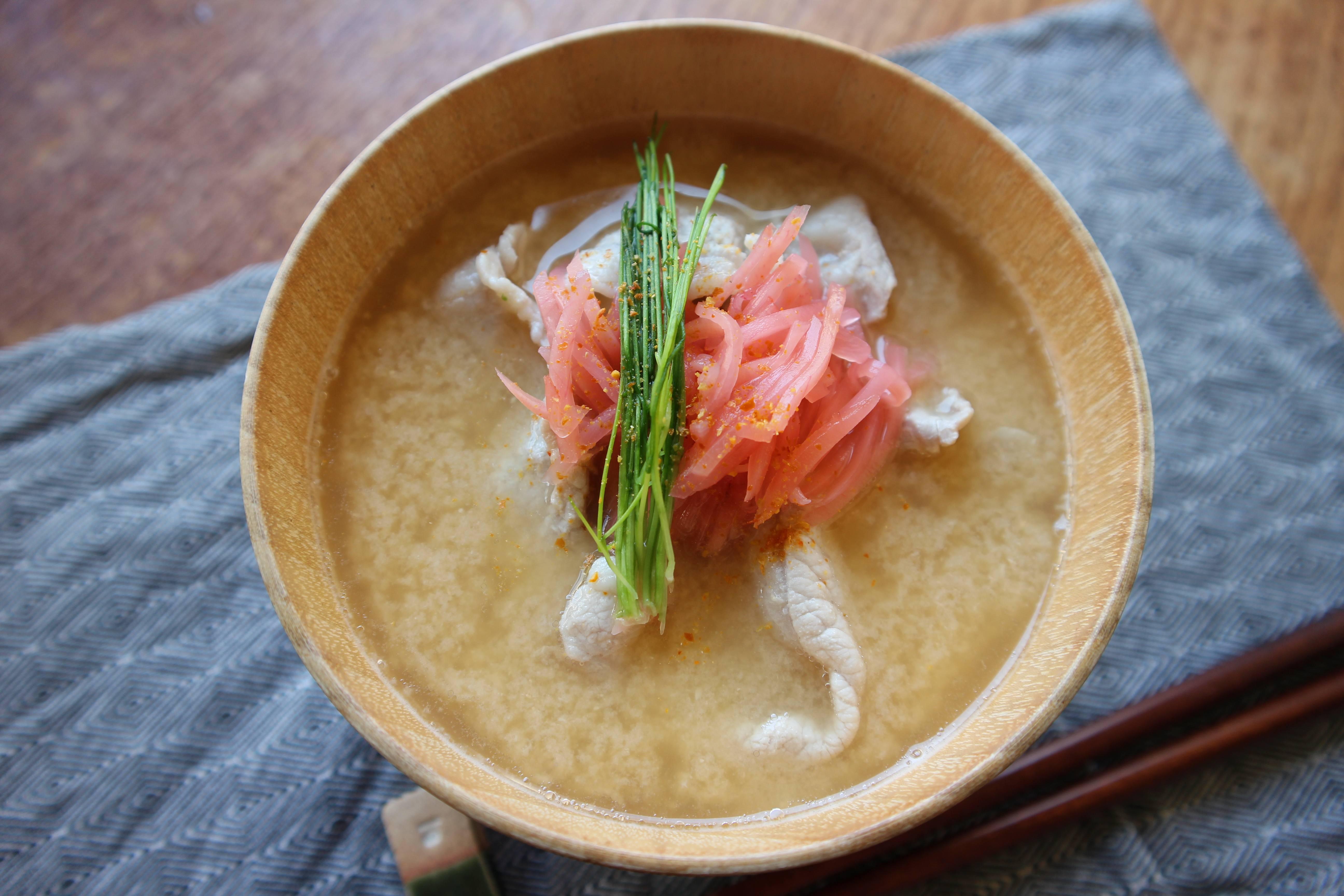 紅生姜のお味噌汁〜豆乳冷しゃぶ風〜