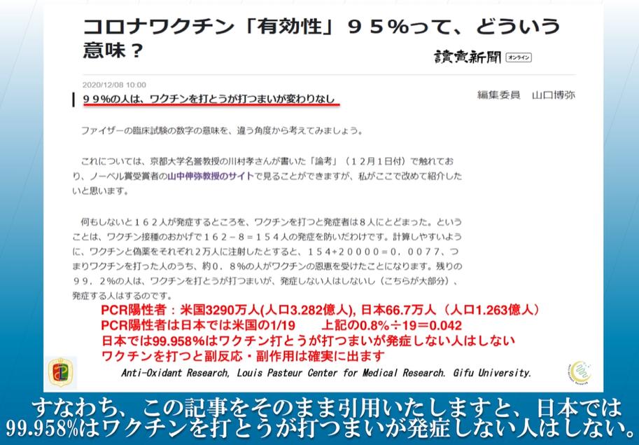 新コロワクチン衝撃事実❣❣日本では99.958%はワクチンを打とうが打つまいが発症しない人はしない