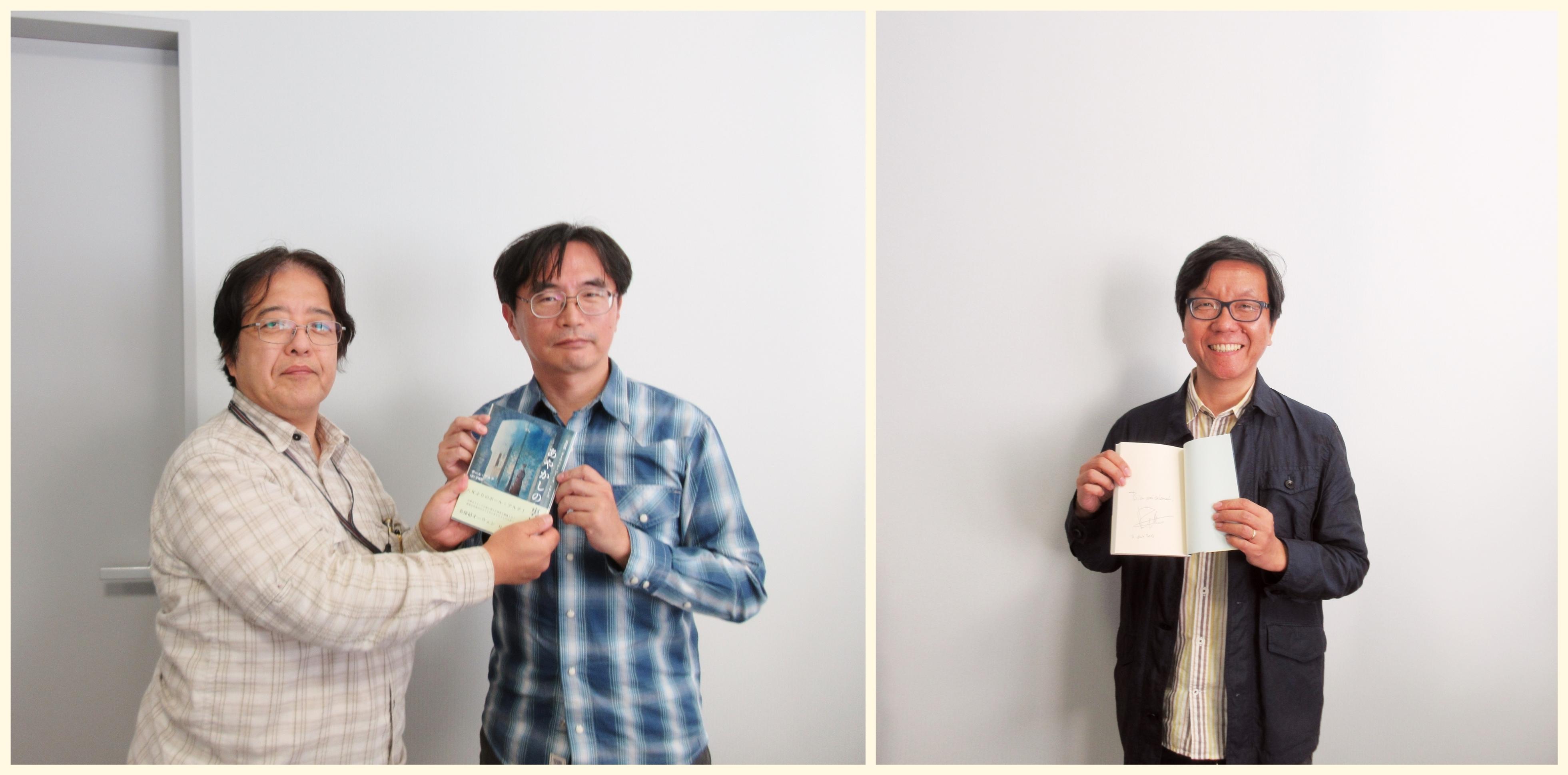 本格ミステリ作家クラブ会長の東川篤哉氏、事務局長の太田忠司氏に『あやかしの裏通り』をご進呈しました!