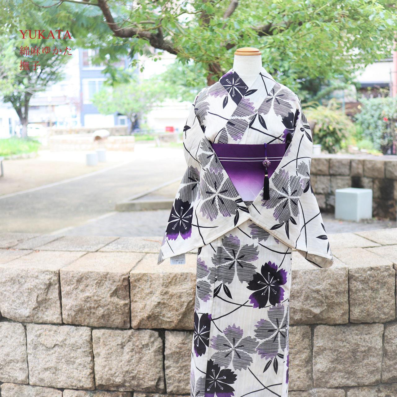 大人な浴衣--黒と紫の撫子