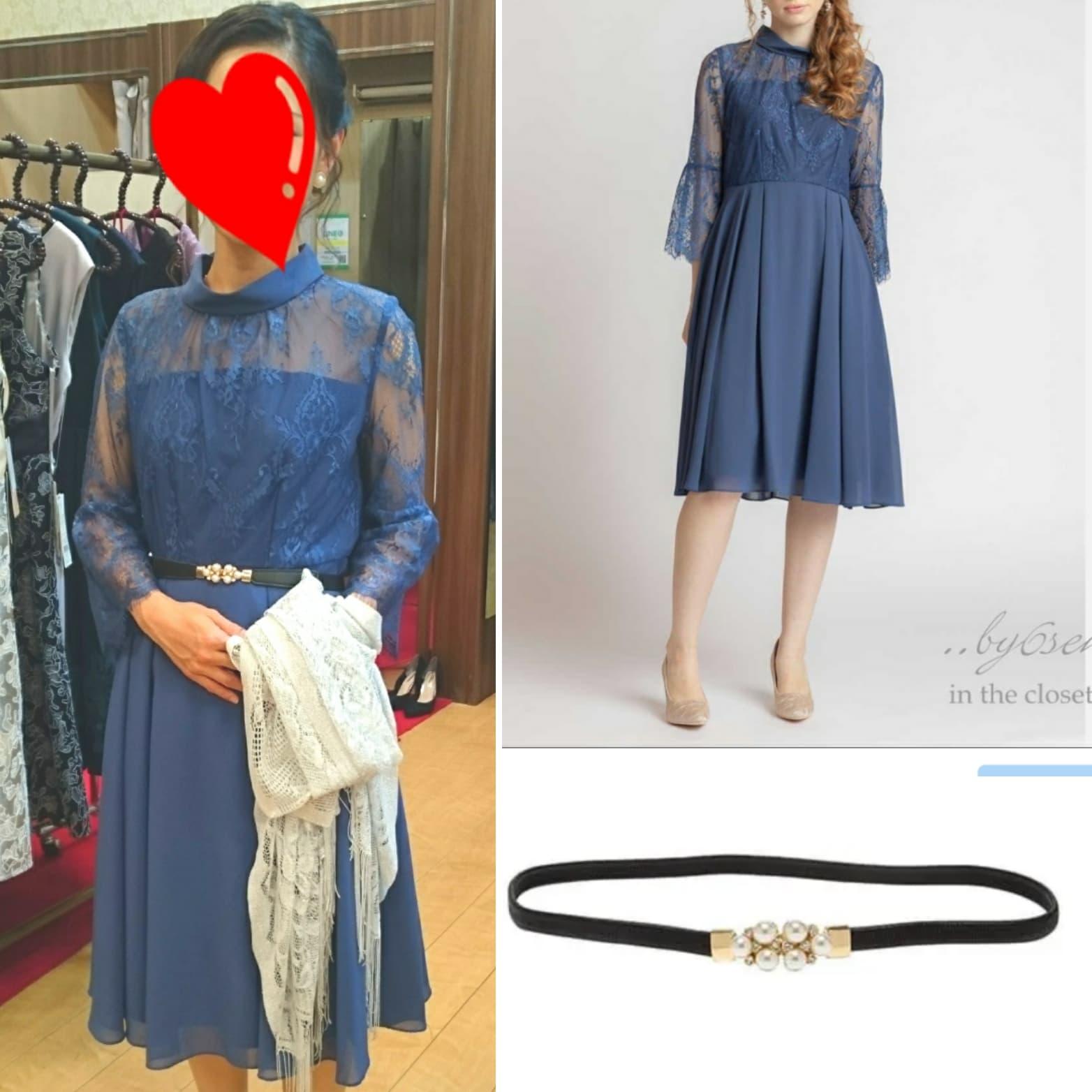 ❀お客様コーデのご紹介❀ お友達の結婚式に明るめブルーのハイネック&デコルテレースドレス♪