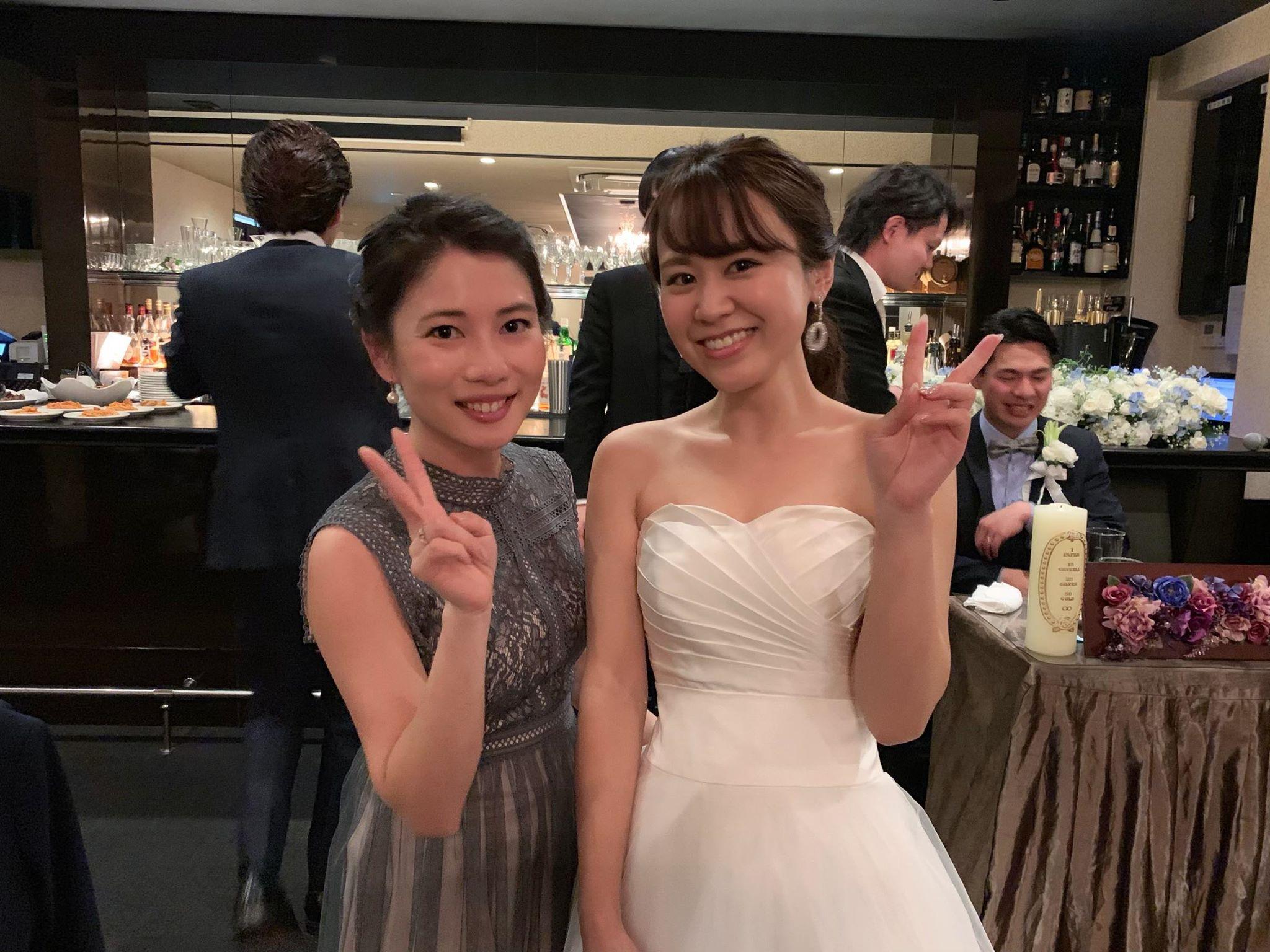 ❀卒花嫁様から頂いたお写真❀ シンプルなドレスのアクセントにきらりと輝くウェディングイヤリング