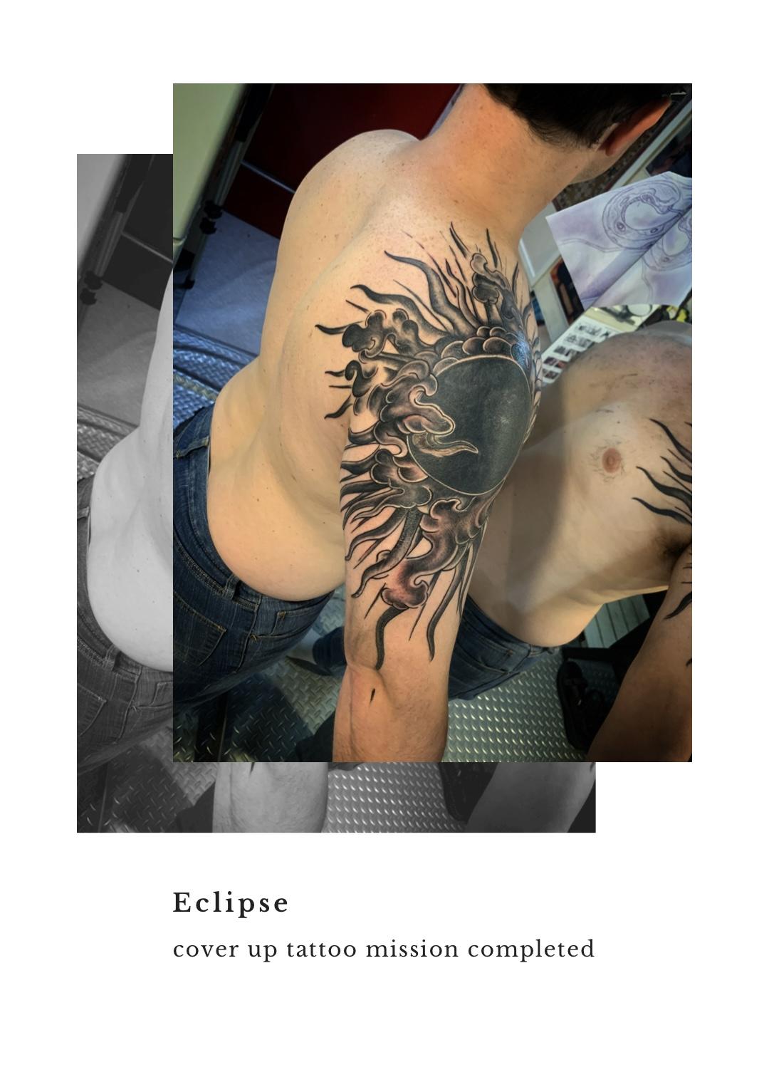 Eclipse : 太陽カバーアップタトゥー 2 | 東京渋谷タトゥースタジオ 刺青師 渋谷伊彫