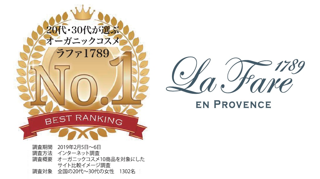 LaFare1789が20代~30代が選ぶオーガニックコスメでNO1を獲得!