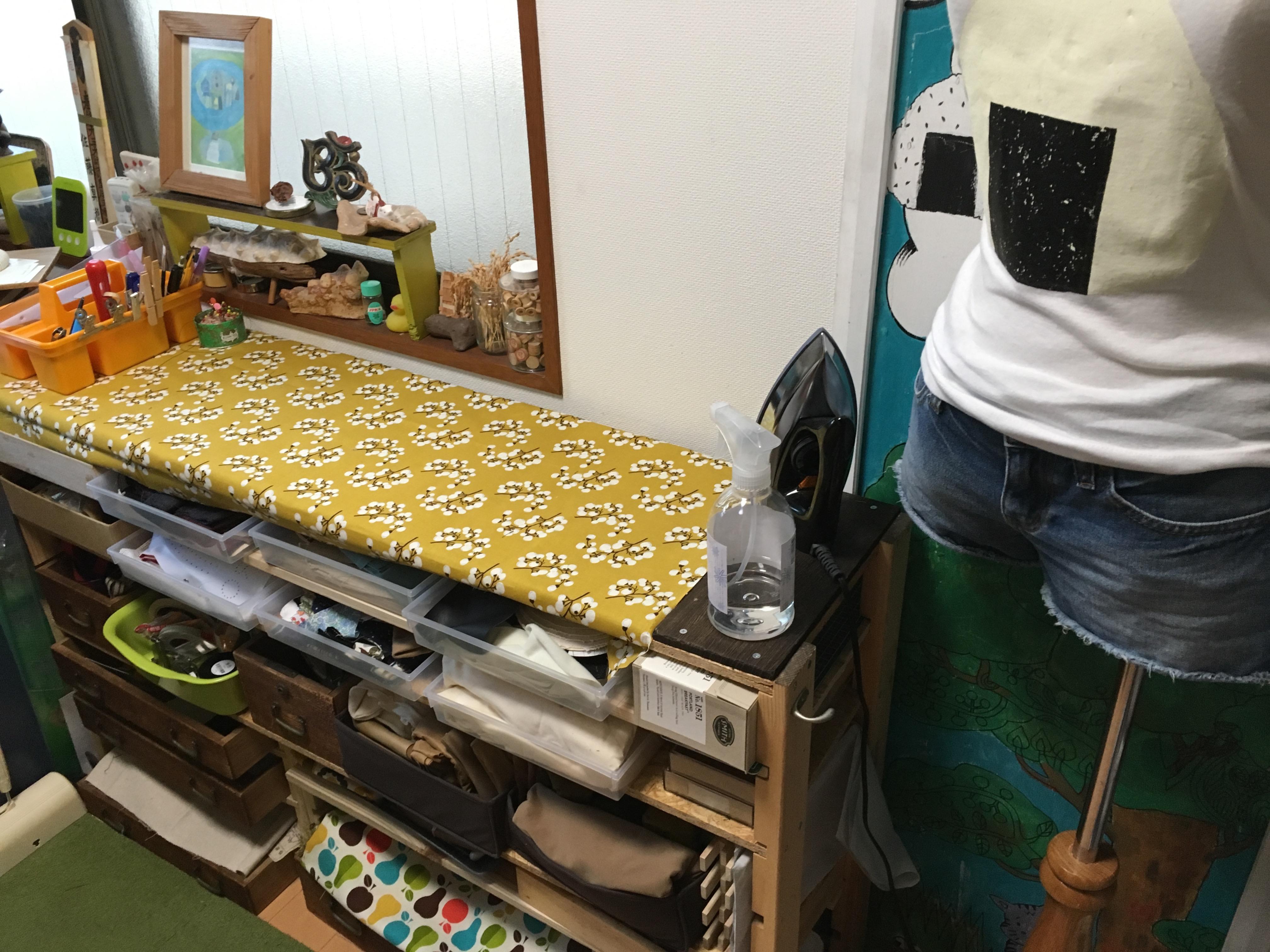 作業台の布貼替え