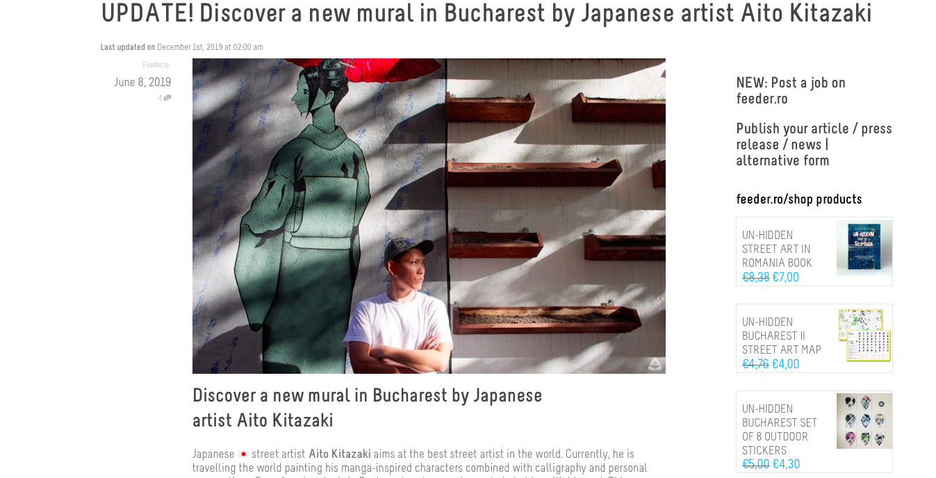 Article of FEEDER about new mural in Bucharest