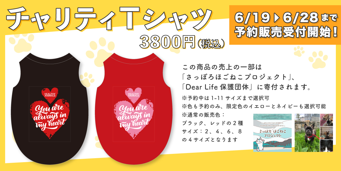 【6/19(金)〜6/28(日)】チャリティTシャツ予約発売受付開始!