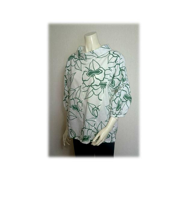 48 浴衣リメイク可愛いレトロ衿プルオーバーシャツ(白×抹茶色)