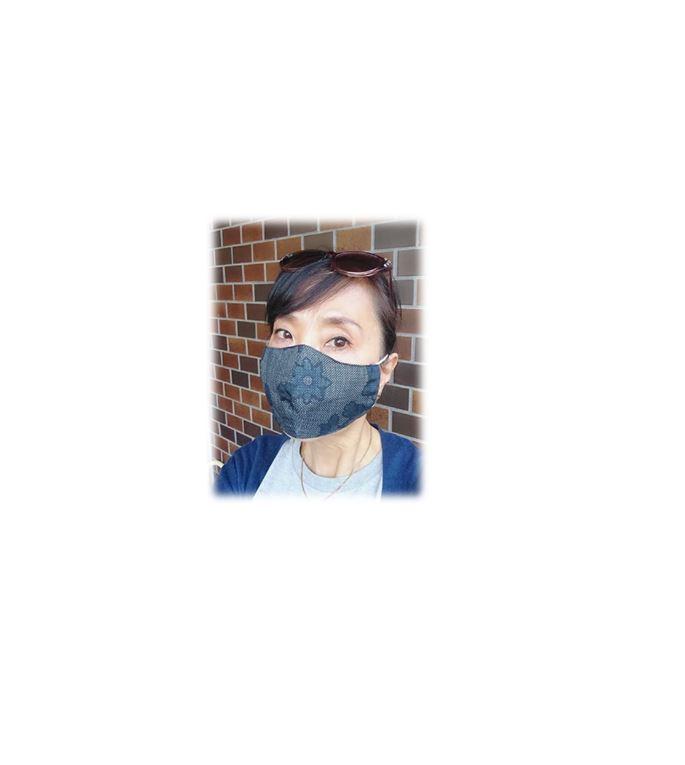 大島紬花柄マスク
