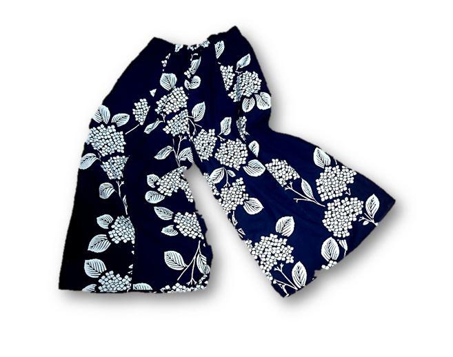 浴衣リメイク紫陽花柄キュロットパンツ