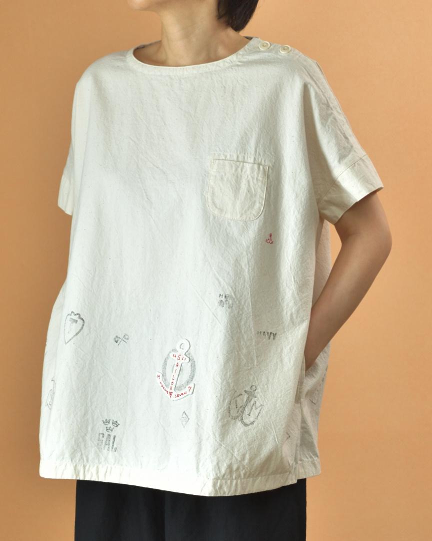 快晴堂 カイセイドウ アップリケ&プリントワイドTシャツ・キナリ マリンモチーフ