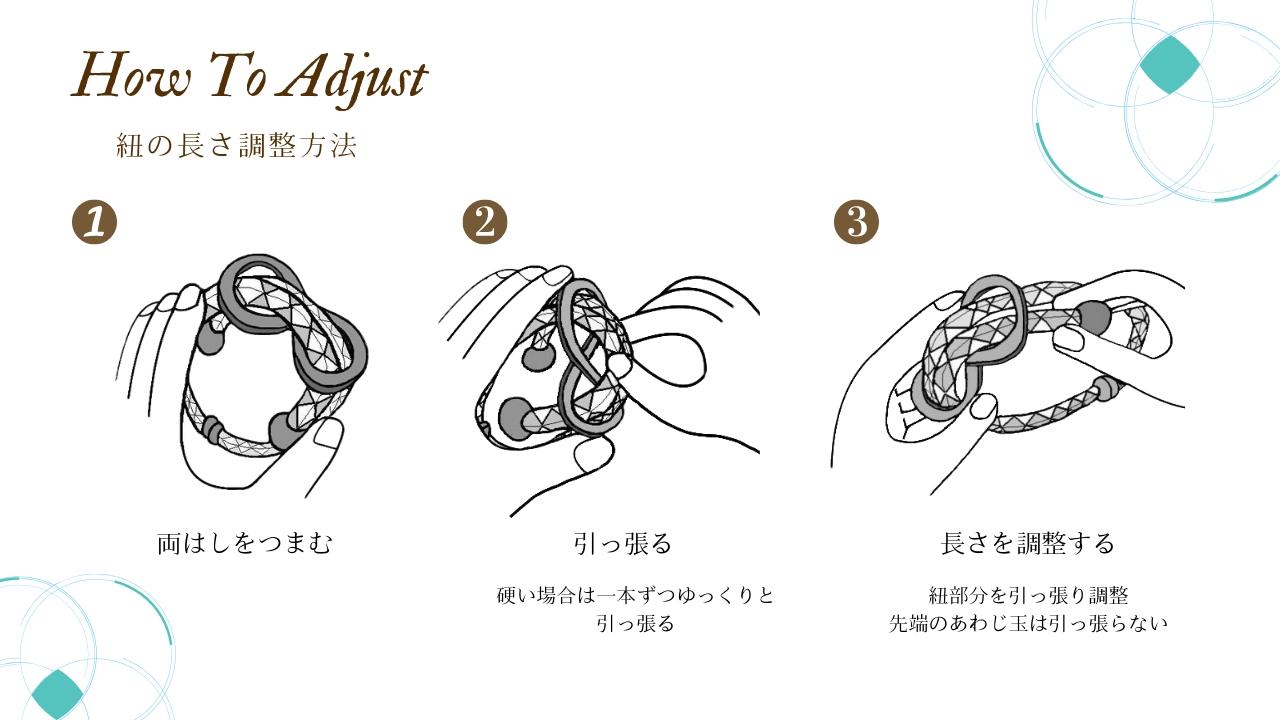 紐の長さ調整方法