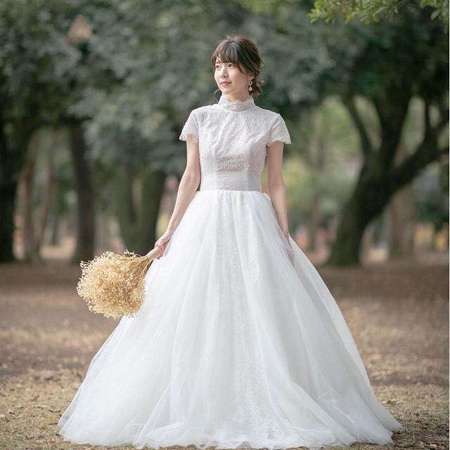 ウェディングドレス前撮り撮影|レース&パールビーズが美しいドレス