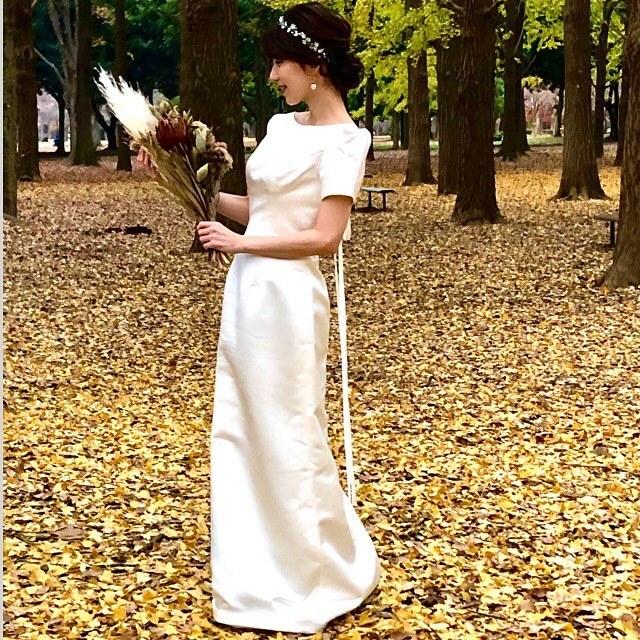 ウェディングドレス前撮り撮影|クラシカル スレンダーラインドレス