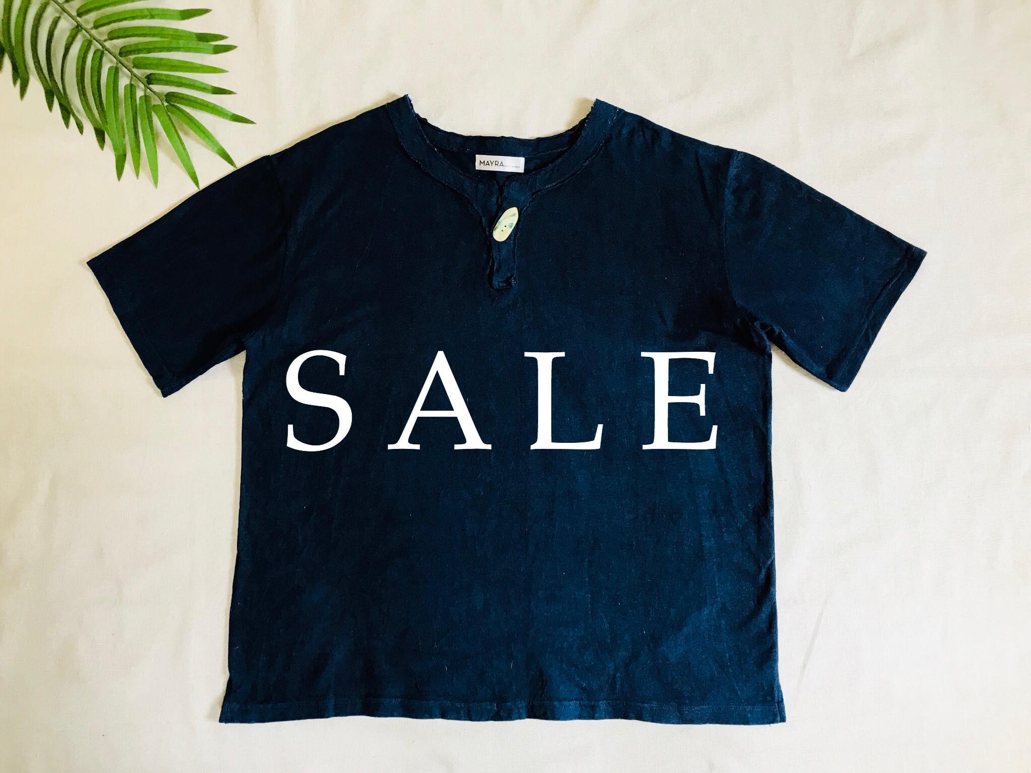 【SALE】藍染メンズヘンプコットンTシャツ夜光貝ボタン!!