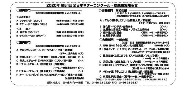 2020年全日本ギターコンクール詳細