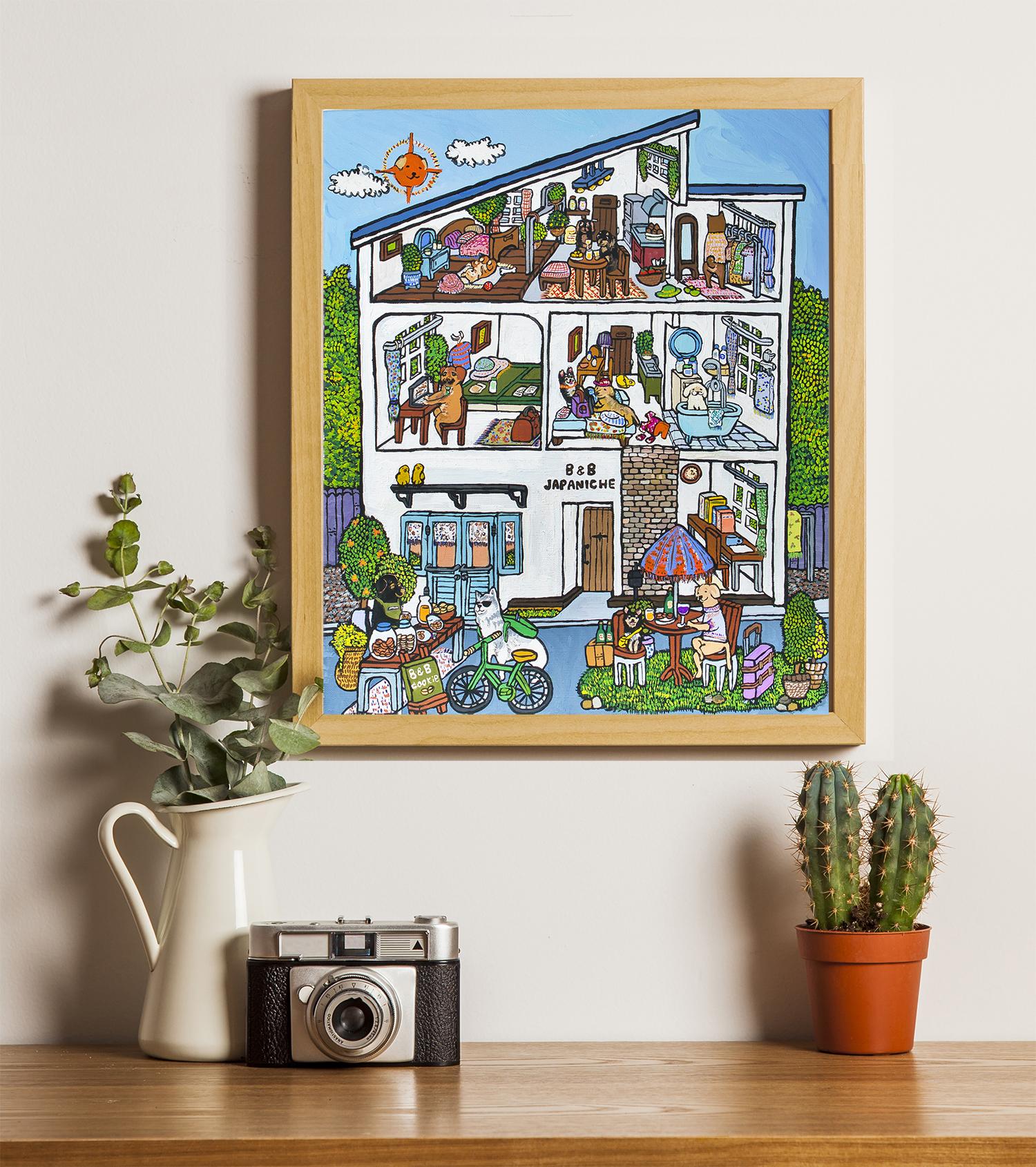 オーダー作品をご依頼をいただき、旅を愛する犬達が集まる素敵なゲストハウスを描きました。