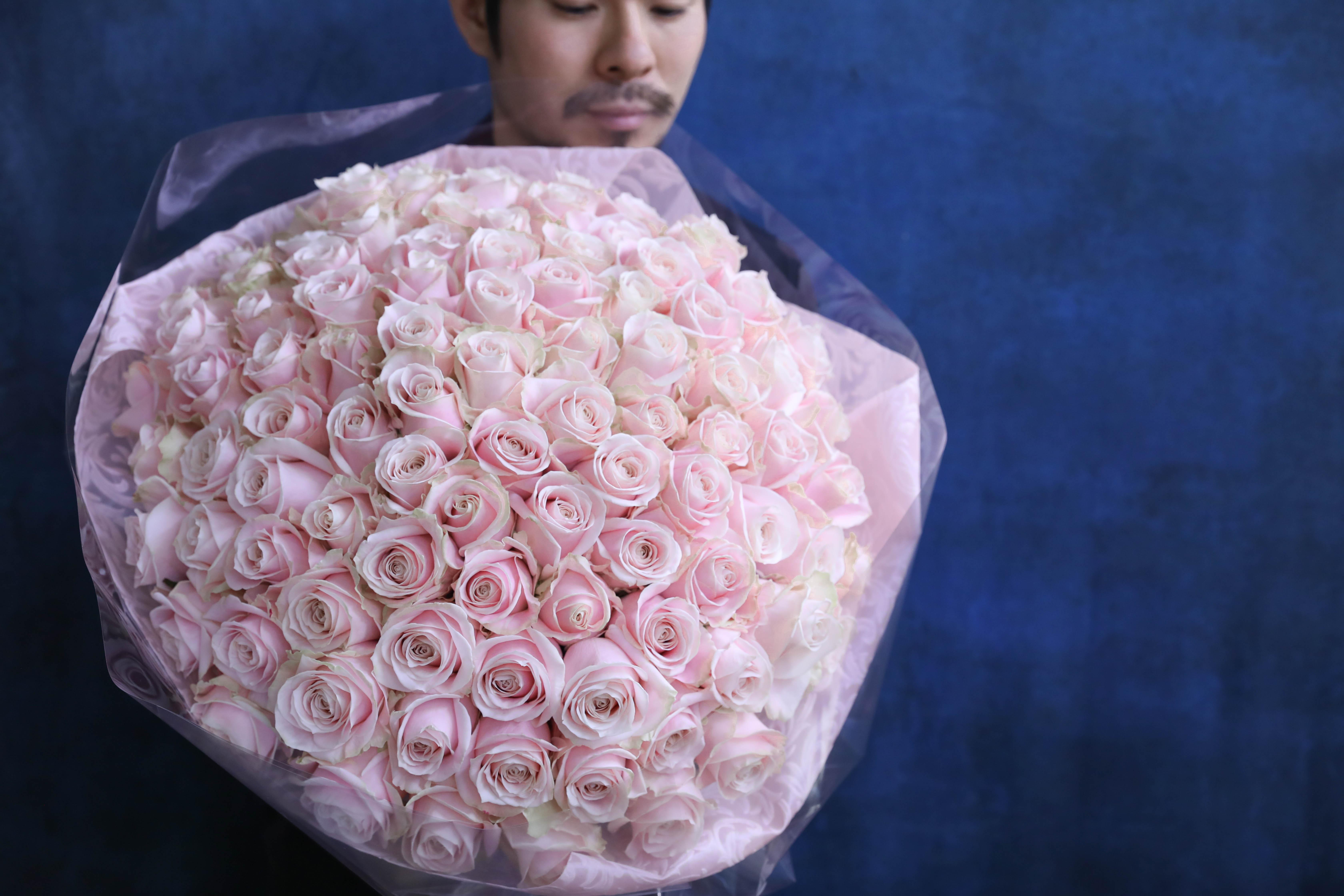 【結婚記念日に】100本のバラ制作動画/ピンクのバラバージョン 2月29日撮影
