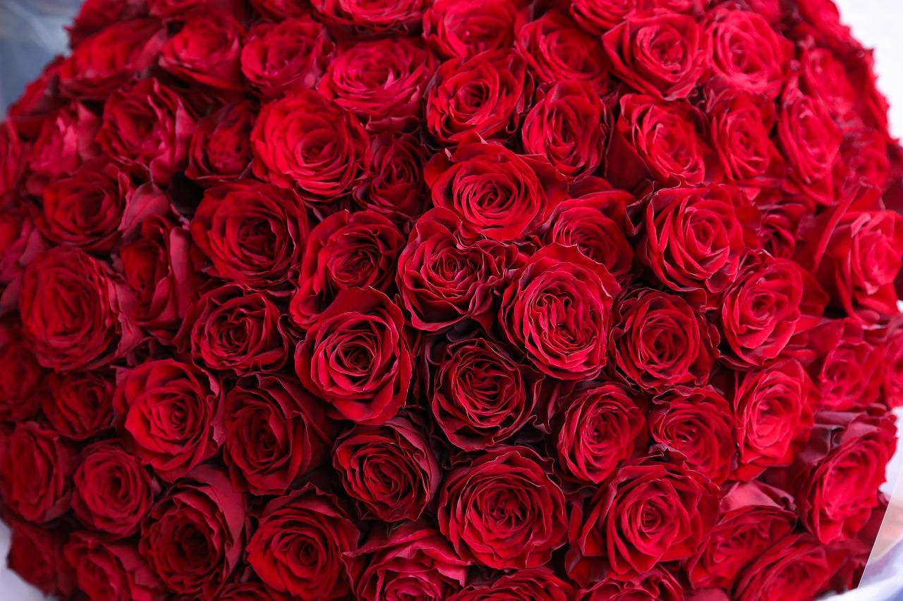 最高級赤バラ100本の花束 2021/10/07制作