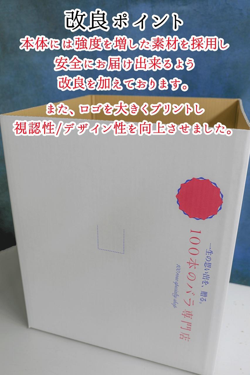 100本のバラ専用配送ボックスの改良・リニューアルのお知らせ