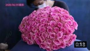 """""""100歳のお誕生日ギフトとして贈る""""ピンクのバラ100本の花束制作動画 2020.06.05撮影"""