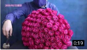 【シックなモーヴピンク系バラ100本の花束制作動画 2020.05.22撮影】