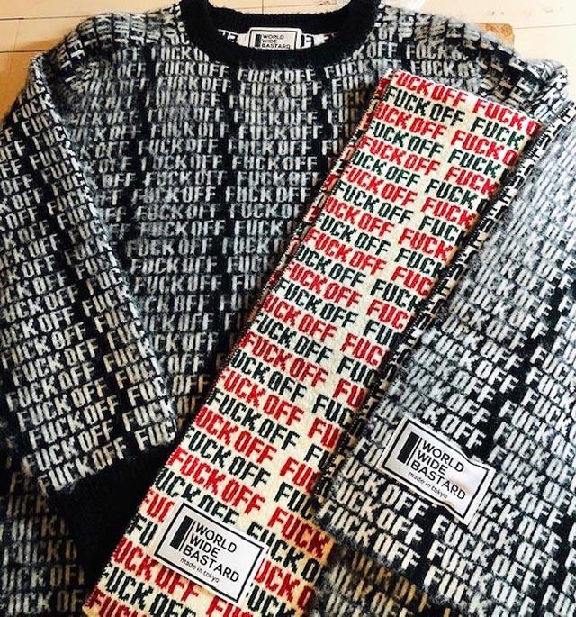 FUCK OFF柄セーターとマフラーの注文は今週末で締め切りです