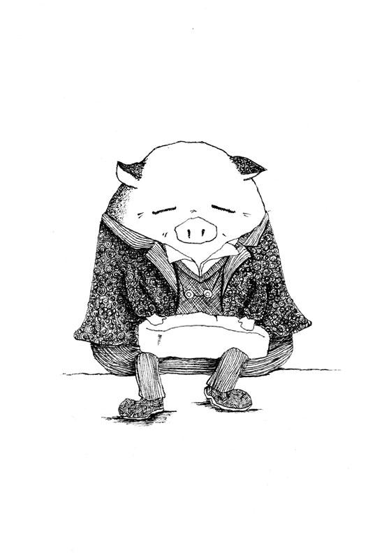 【モノクロ】ブタ