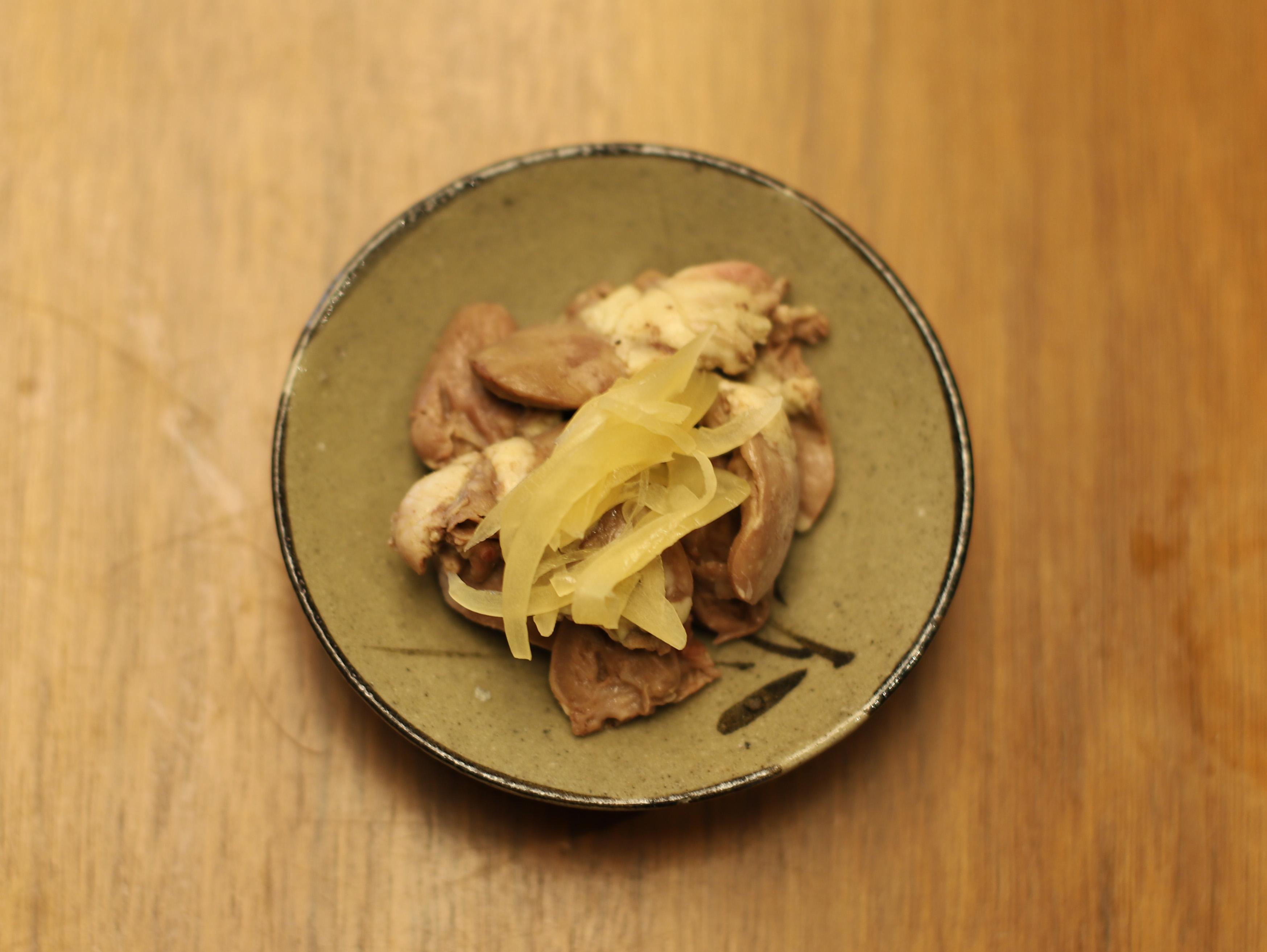 酒喜惣菜レシピ「ハツとハツモト酒煮」