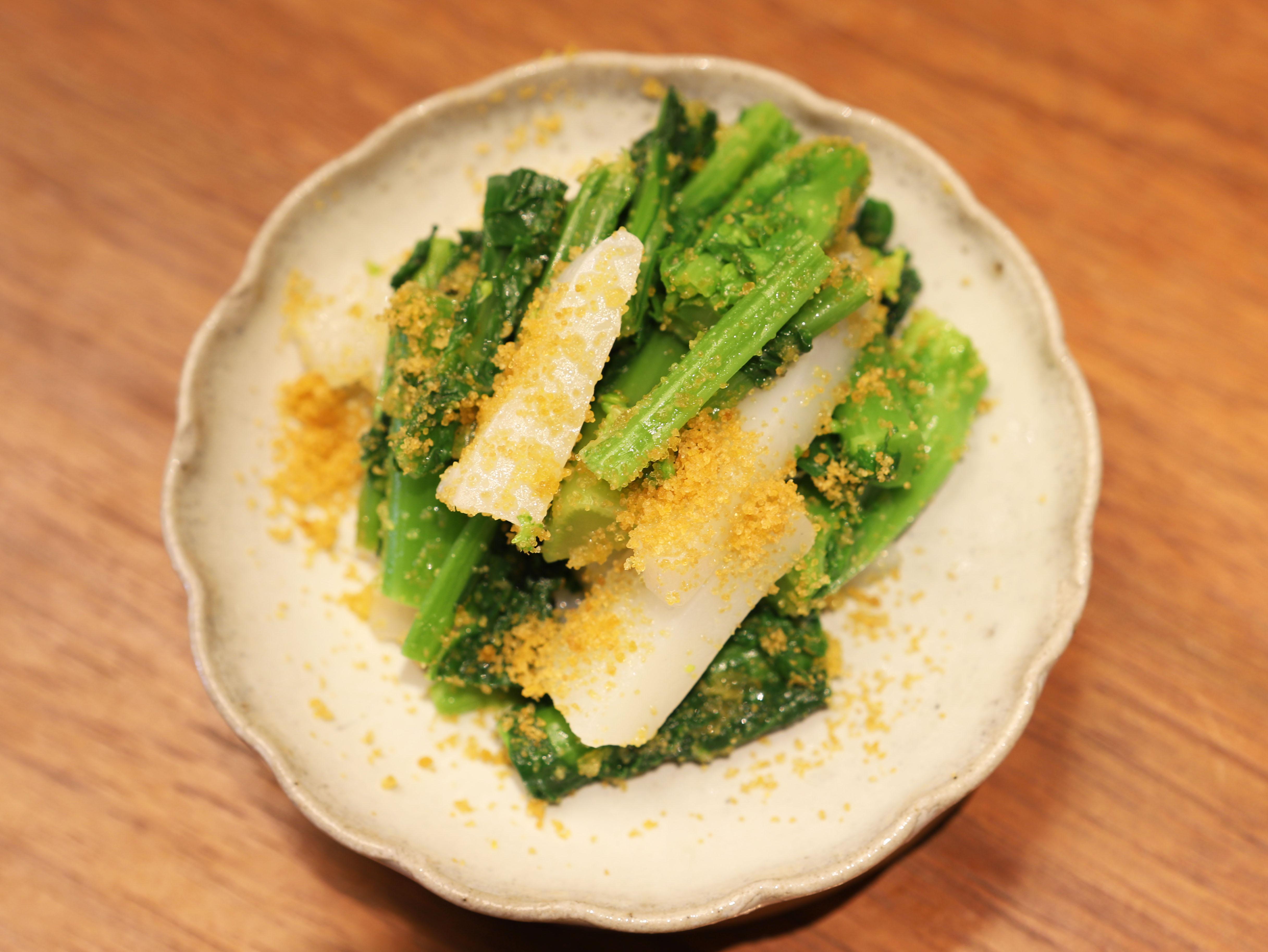 酒喜惣菜レシピ「水いかと菜の花の唐墨和え」