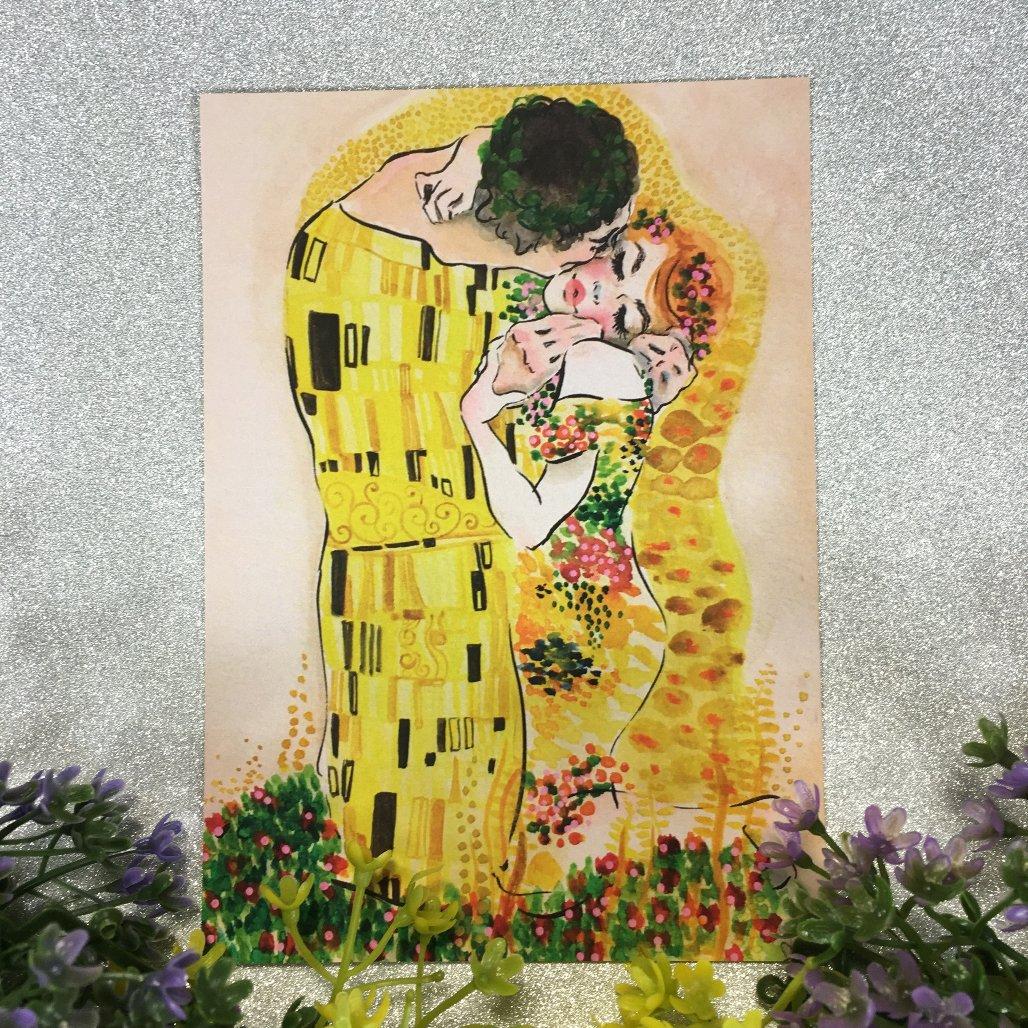 クリムトが愛したキスがこんなに可愛いポストカードになりました!