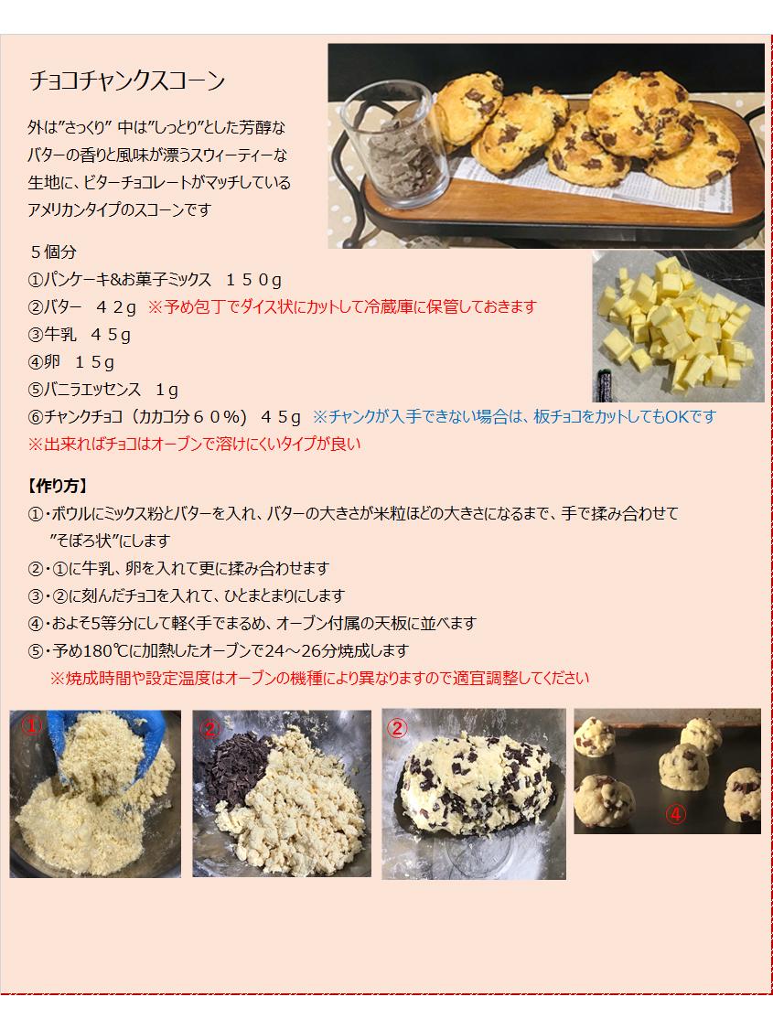 パンケーキミックスレシピNo.24「チョコチャンクスコーン」