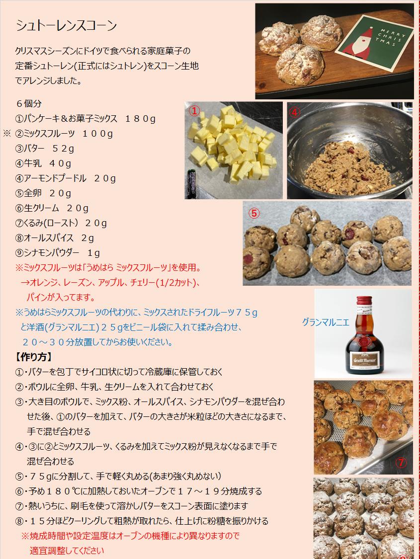 パンケーキミックスレシピNo.16「シュトーレンスコーン」