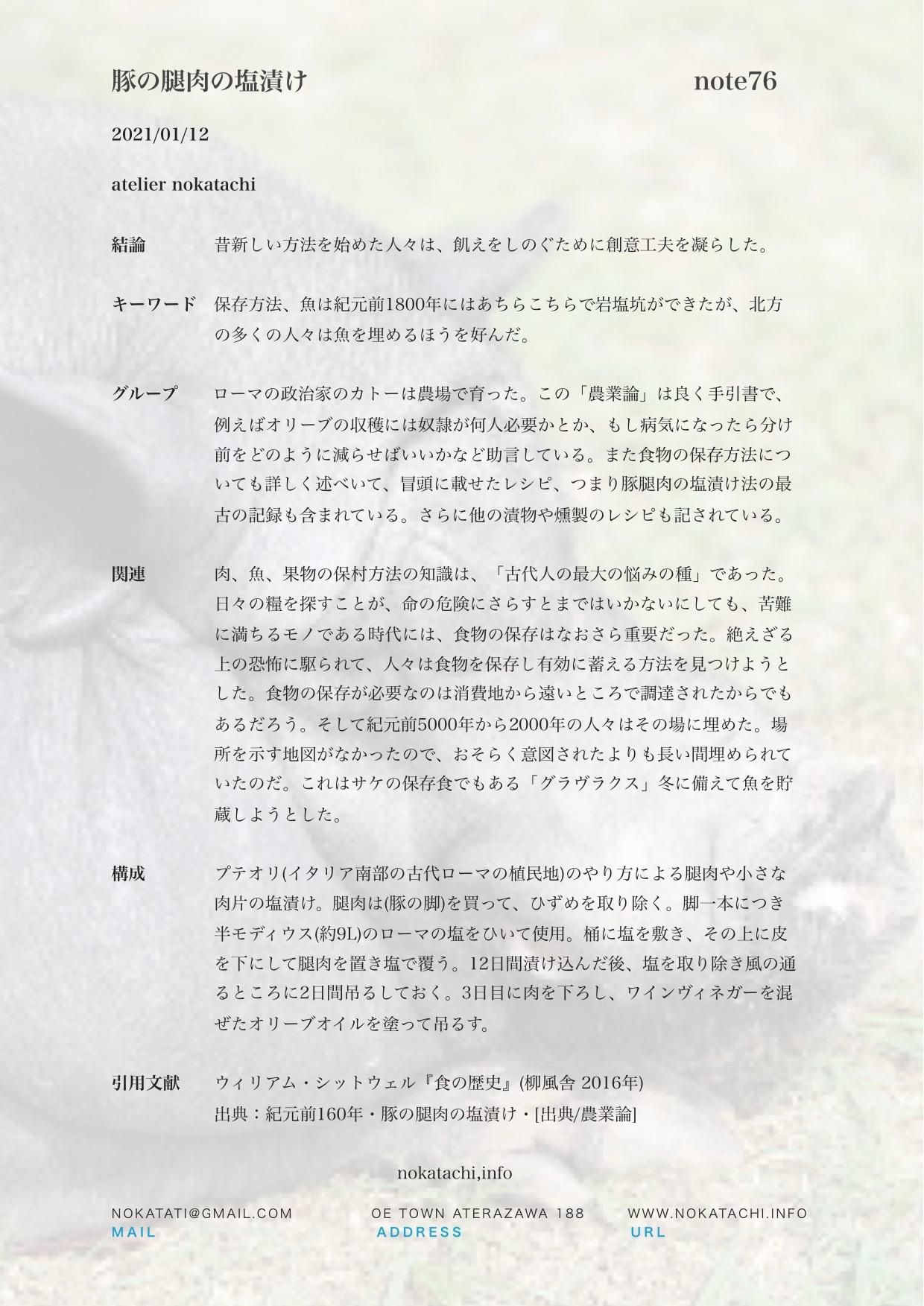 【レポート】豚の腿肉の塩漬け