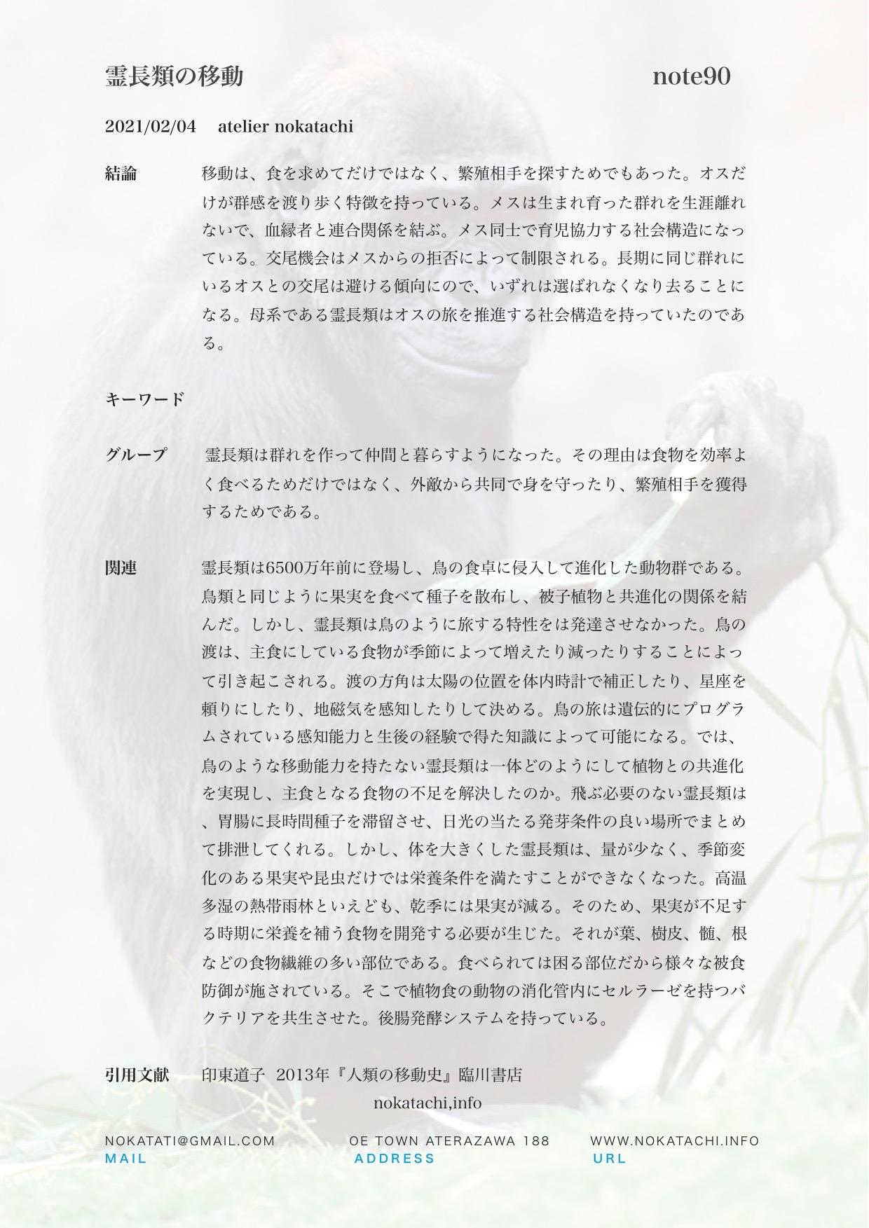 【レポート】霊長類の移動