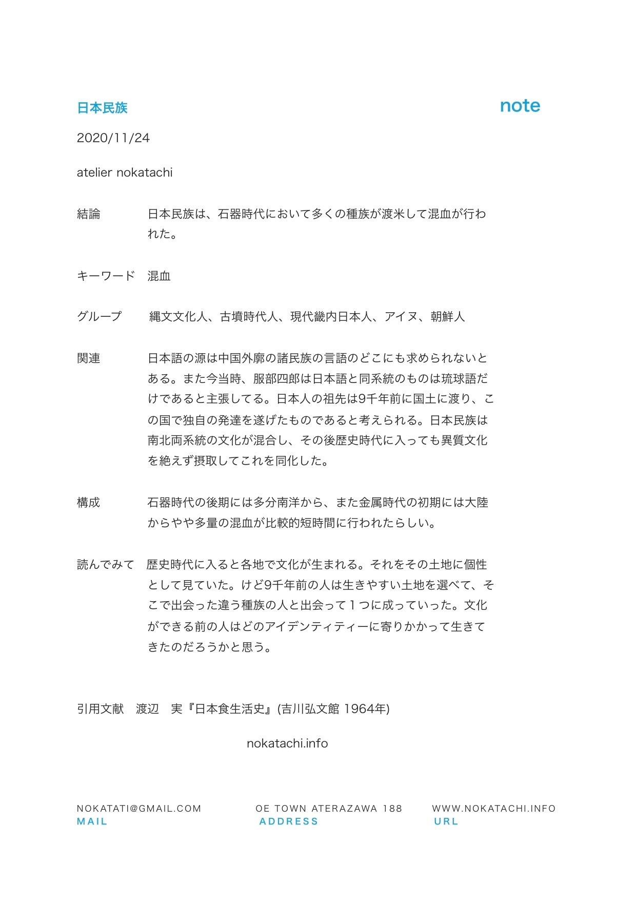 【レポート】日本民族
