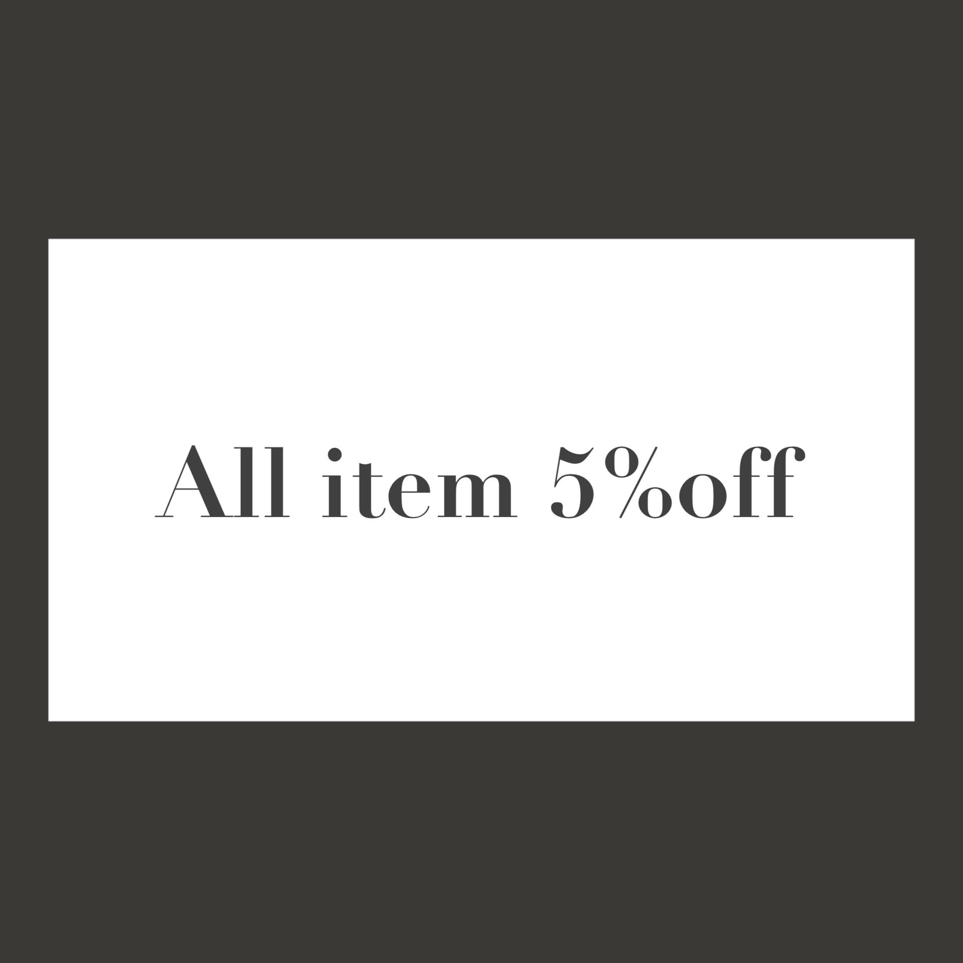 All item 5%off