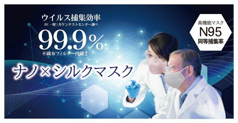 高性能ナノファイバーフィルター内蔵のシルクマスク。医療用N95マスク級のウイルス捕集効率不織布