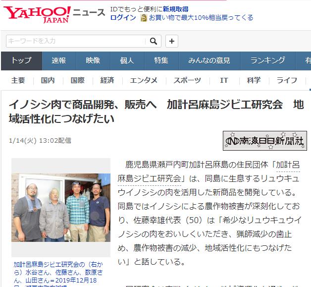 【ヤフーニュース】イノシシ肉で開発、販売へ 加計呂麻島ジビエ研究会 地域活性化につなげたい