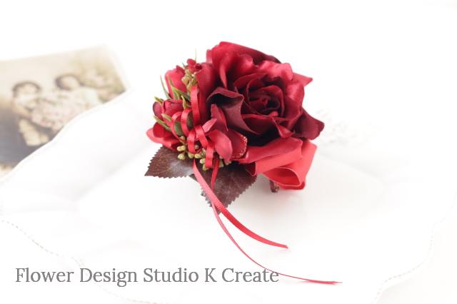 オーダー制作:赤い薔薇の髪飾り